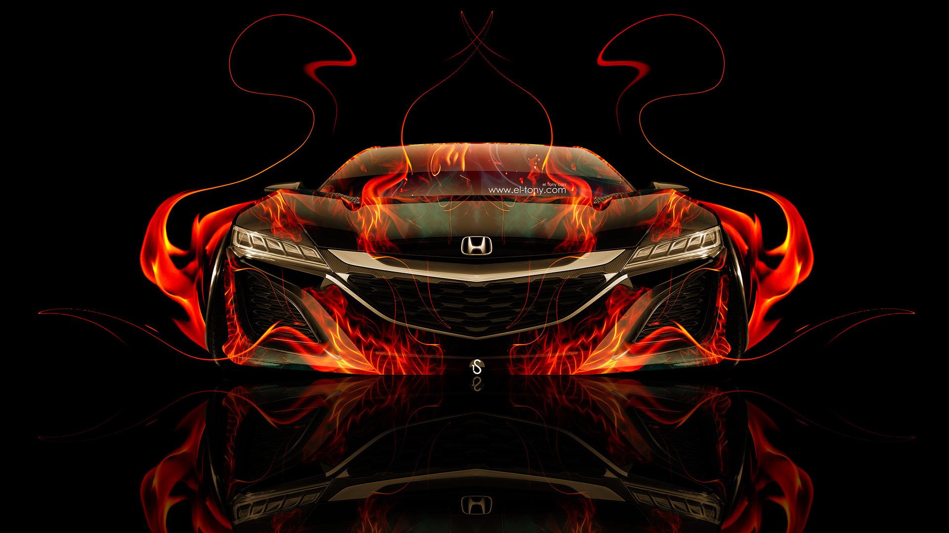 Wallpaper Cars Photo Picture Tony Kokhan Honda Nsx Fire
