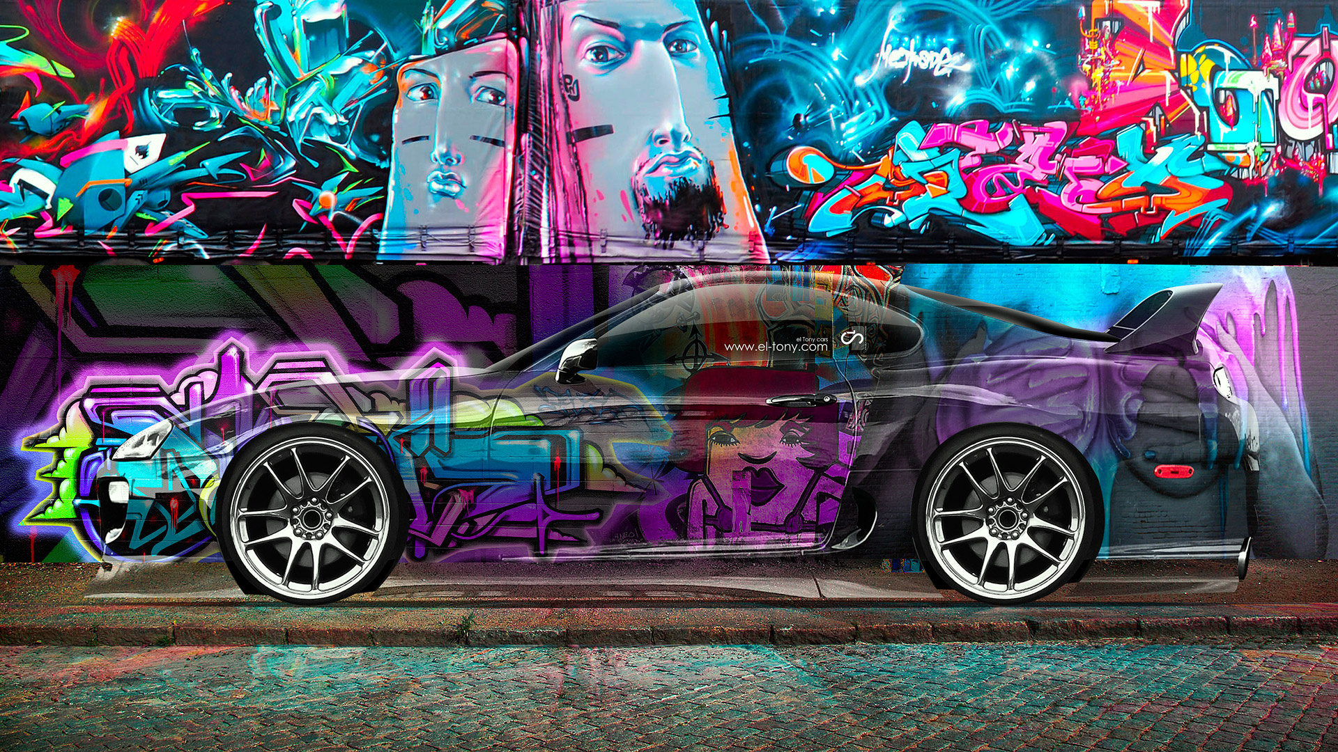 Tony Kokhan, Toyota, Supra, Crystal, Graffiti, Car, Multicolors, JDM