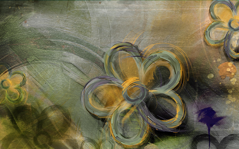Tapeta Na Monitor Textury Kvetiny Zluto Zelene Kreslene