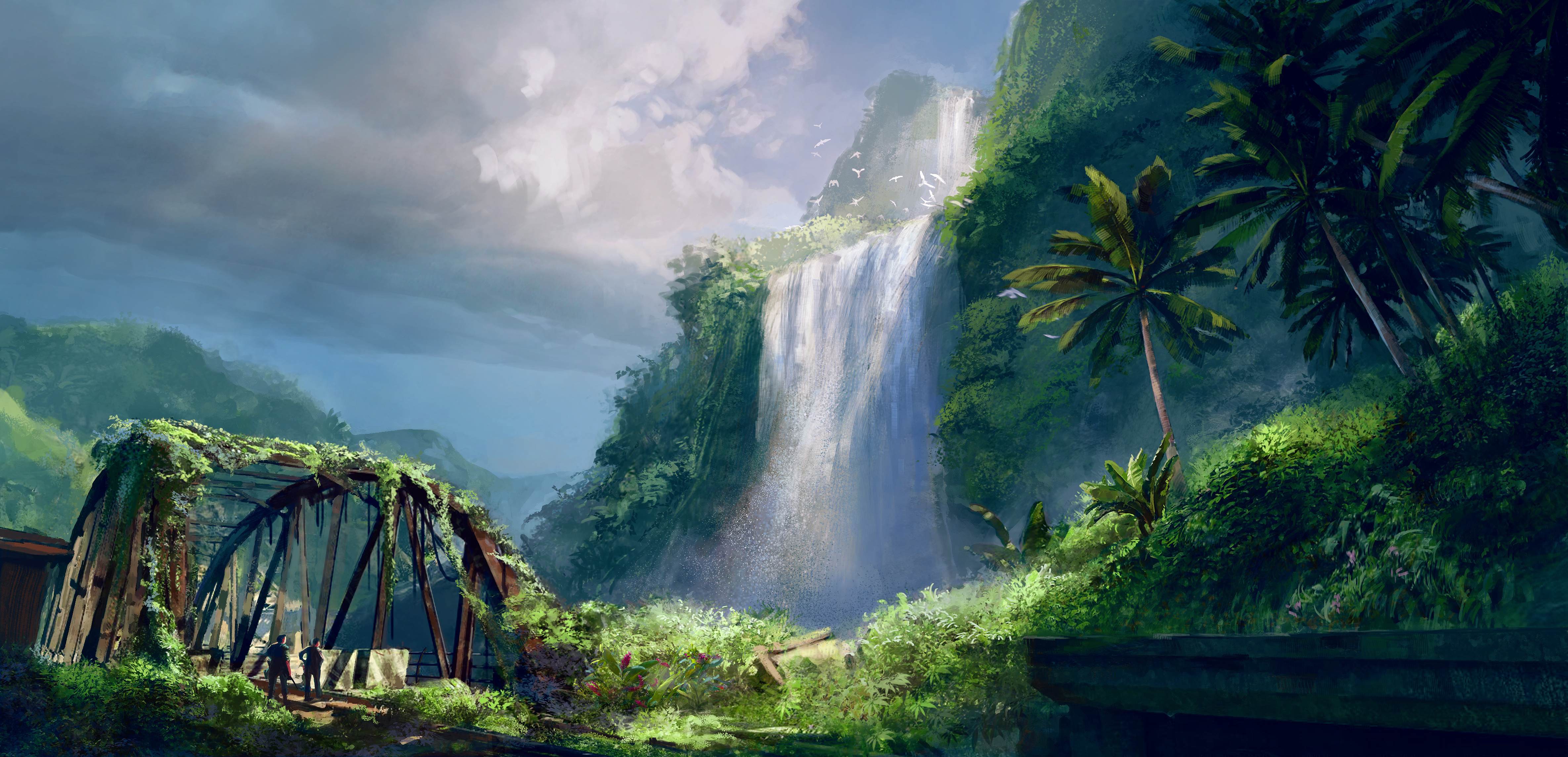 Wallpaper Games Photo Picture Far Cry 3 Island Waterfall The Bridge Road