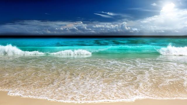 moře, pláž, surfování, vlny