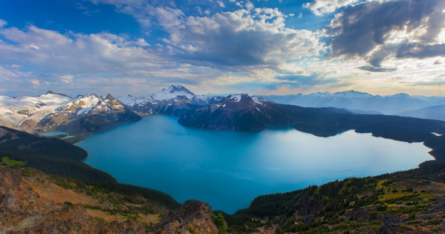 Британська Колумбія, Канада, канада, гори, кратер, сніг, озеро, небо, хмари
