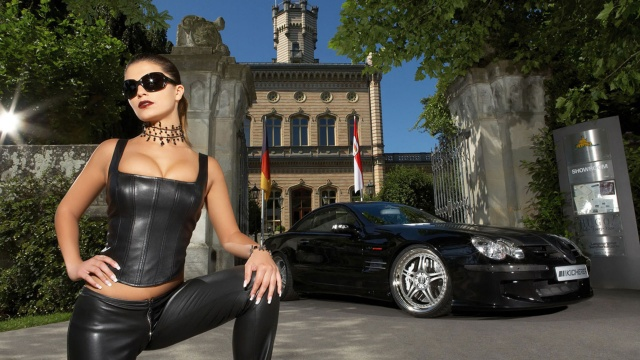 girl, Mercedes, Car