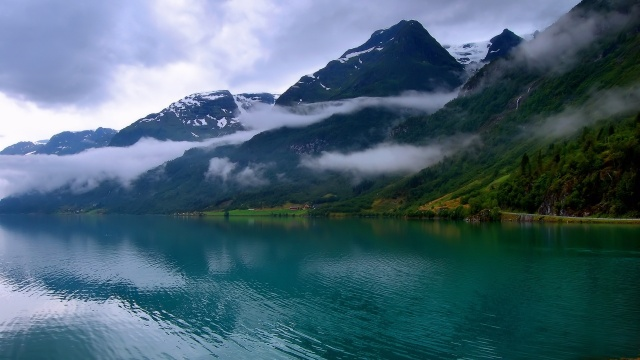 mountains, river, fog