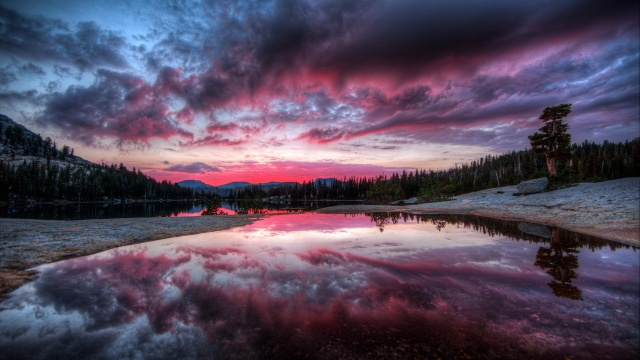 river, lake, forest, trees, sunset, reflection, clouds, clouds
