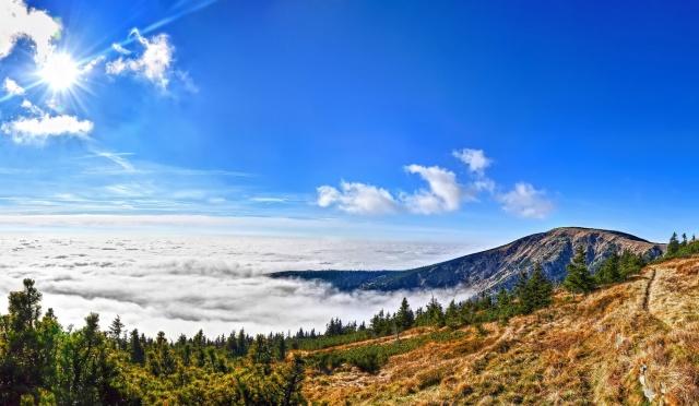 The Karkonosze national Park, Czech Republic, mountains, forest, clouds, the sun