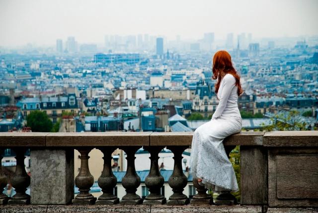 девушка, рыжая, позирует, Париж, вид, фигурка, макро, фото, природа