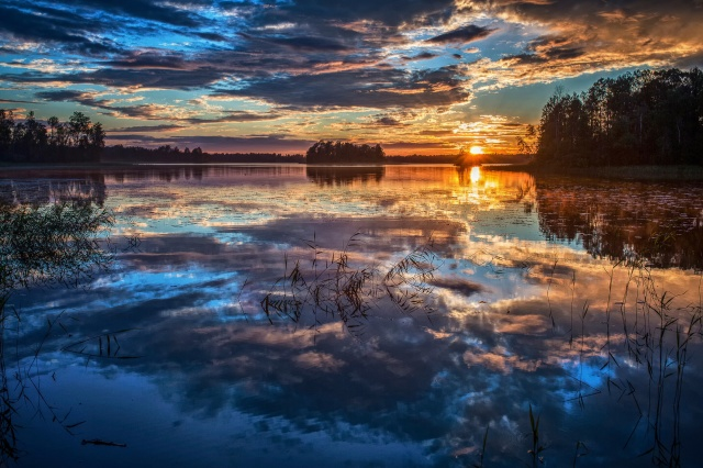 SunMirror, summer, the lake, the sun, the sky, clouds, sunset, forest, trees