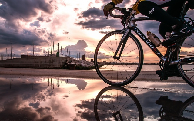 water, the city, home, man, wheel, the sky, sunset, nature, sports