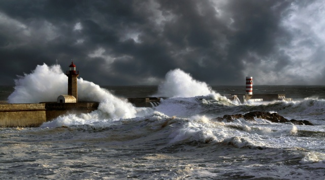 cyclone, storm, lighthouse, wave, cloudy, the breakwater, beautiful, stones, rock