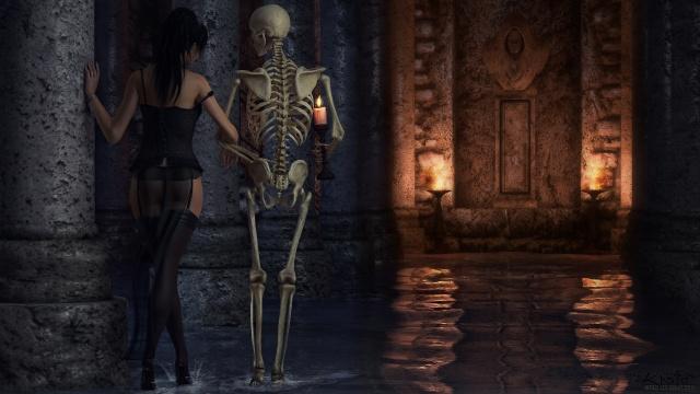 TES V, Skyrim, skeleton, torch, class