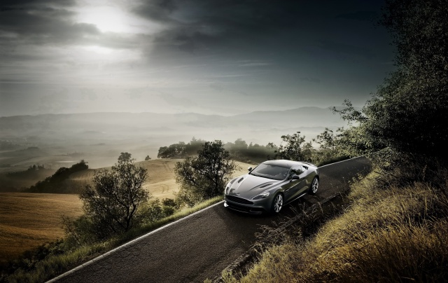 Aston Martin, nature, road, serpentine, cloudy, car, Aston Martin, trees, landscape