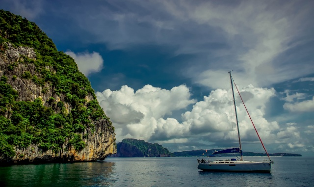 nature, yacht, resort, the rest, rock, mountains, tropics, Paradise, the sky