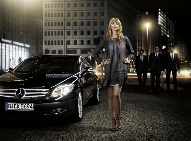 the city, street, the situation, girl, Mercedes Benz, men, creative, blonde, grey background