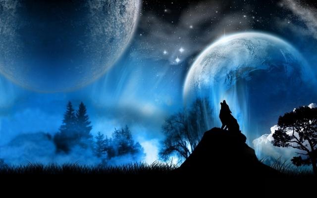 vlci, vlci, fantasy umění, fantasy