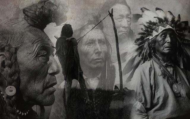 indiáni, foto, koláž, domorodí američané