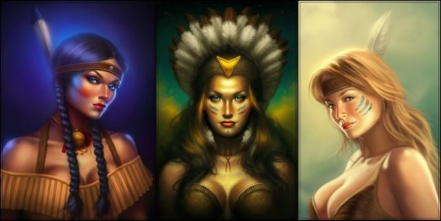 holka, indián, pokrývka hlavy, obrázek