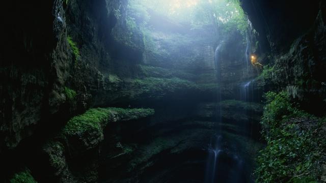 спуск, ущелье, пещера, свет, пейзаж, природа, водопад