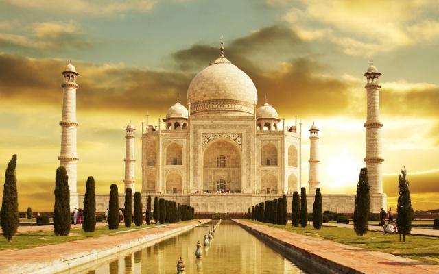 Taj Mahal, indie, budova, sky, muzeum