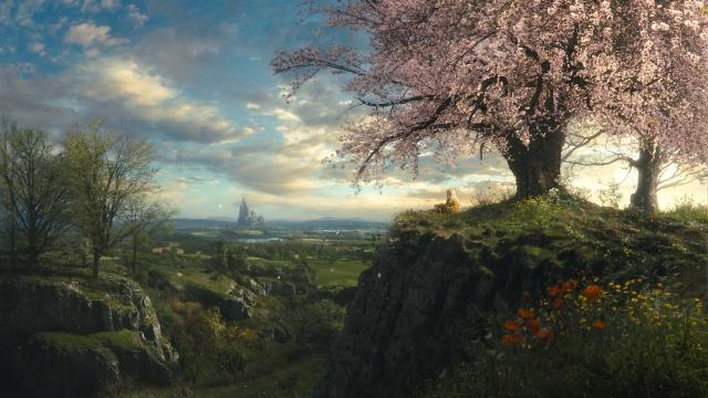 příroda, jaro, obraz, fantasy, krásně, strom, dívka, hrad, pohádka