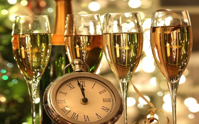 new year, wine, clock, drink