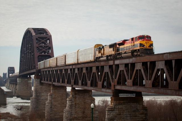 поезд, мост, вагоны, красота