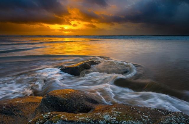 the ocean, coast, the sky, sunset, beauty