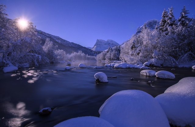 Norway, Norway, river, mountains, forest, winter, snow, the sun, beautiful
