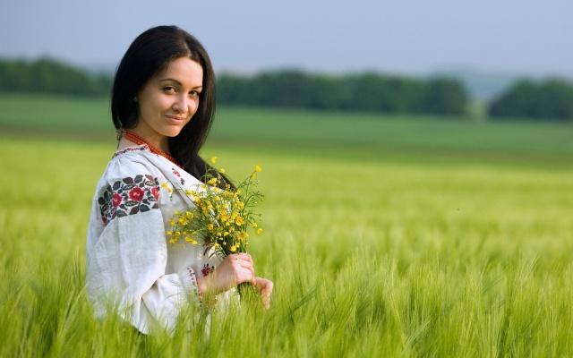 girl, brunette, macro, photo, nature, Ukrainka, posing, beautiful, field