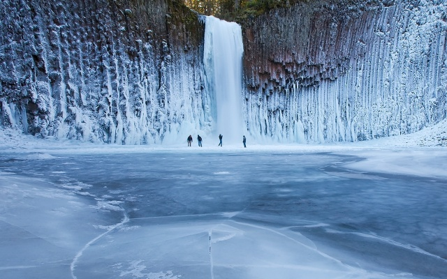 winter waterfall, waterfall, photo south