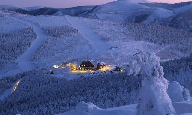 природа, зима, вечер, горы, снег, лес, курорт, красиво