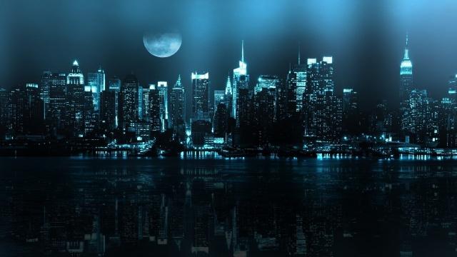 město, New York, odraz, měsíc