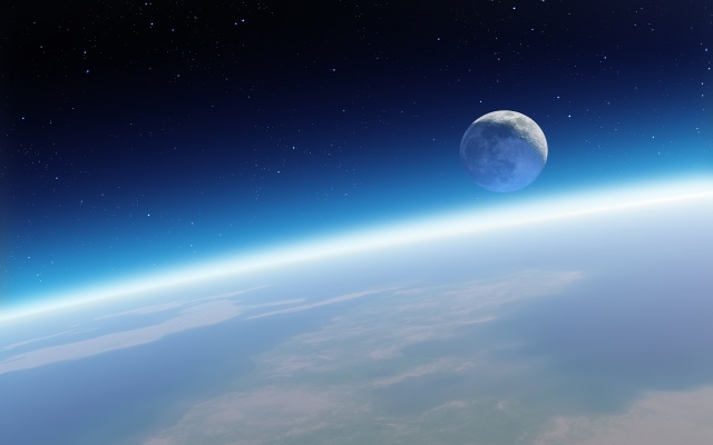 космос, фото, орбіта, земля, місяць, зірки, красиво