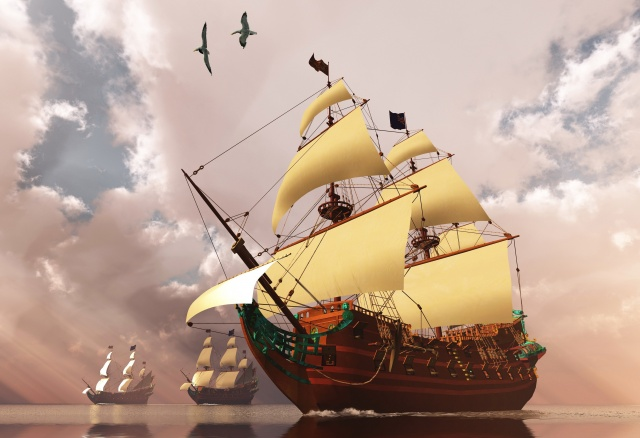 3D, sailboat, ships, fantasy, art, work, birds, beautiful, water