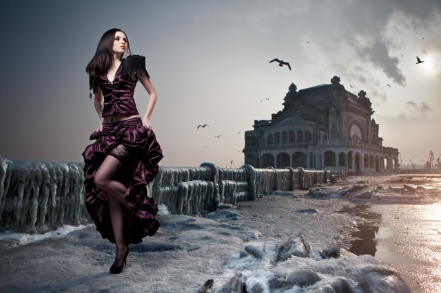 Daniel Ilinca, photo, pros, girl, brunette, promenade, port, winter, ice