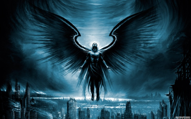 Archangel, wings, the city, ruins