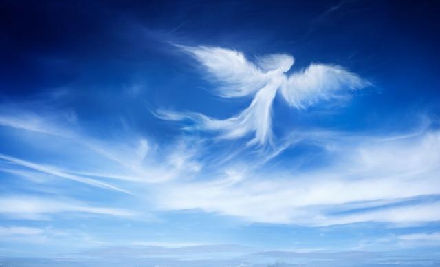 небо, облака, фигура, ангел