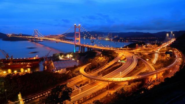hong kong, město, řeka, světlo, budova, most