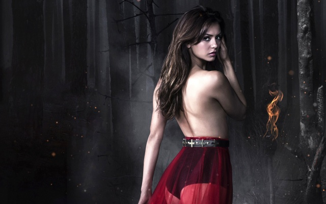 Nina Dobrev, Nina Dobrev, girl, actress, forest, shawl, diaries, vampire
