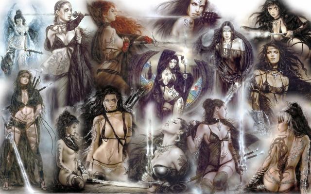 Luis Royo, girls, warrior, swords