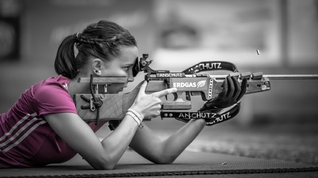 bokeh, Shooting, girl, Pink Sniper