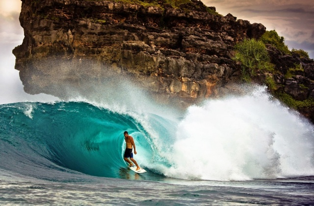 man, surfing, wave, rock, sports, extreme