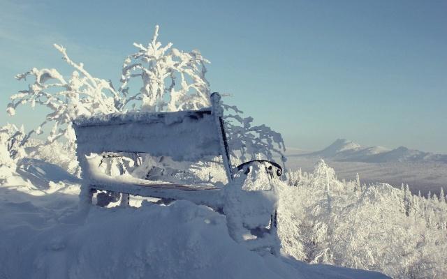 zima, příroda, hory, den, sníh, krásně