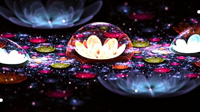 3Д, цветы, темный фон, макро, фэнтези