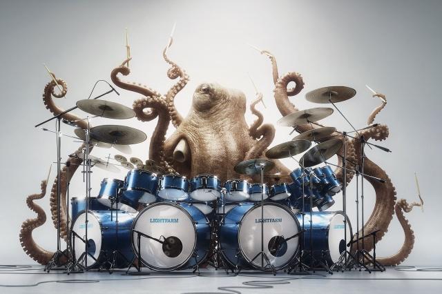 спрут, осьминог, барабаны, ударник, глаза, настроение