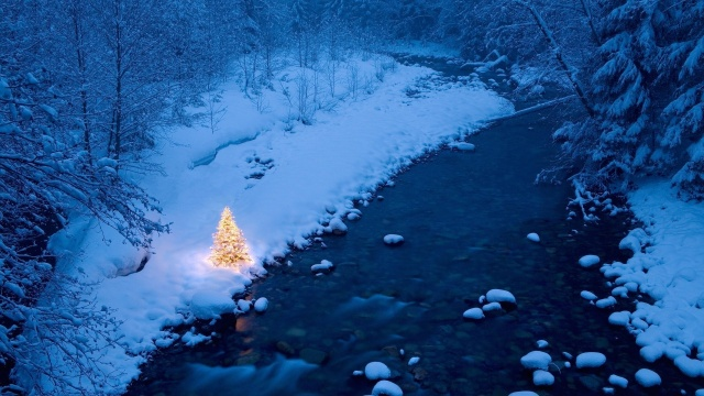 winter, mountain, snow, trees, road, sun, sky, blue