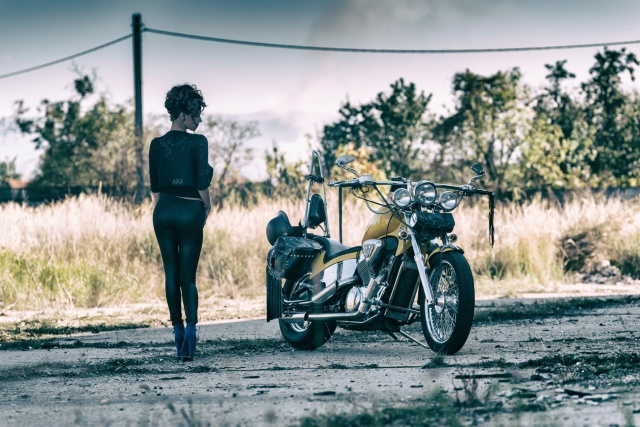 мотоцикл, вид, девушка, ножки