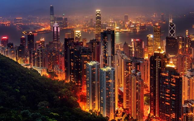 Гонконг, город, вечер, Китай, горы, залив