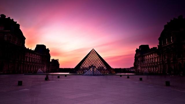louvre, pyramide, Paříž, Francie