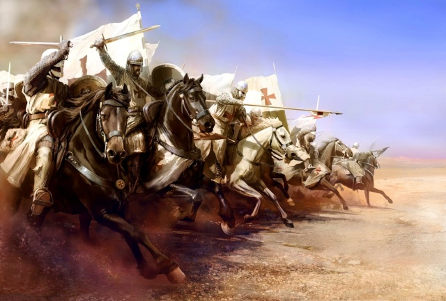 art, the battle of Mongitore, Israel, November 25, 1177 year, between Saladin Salah ad-DIN and the forces of the Kingdom of Jerusalem, attack of the Templars, drawing, Mariusz Mixed